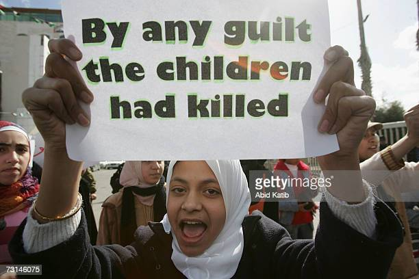 Palestinian children take part in a protest calling for an end to the internal fighting between the ruling Hamas movement and the Fatah movementon...