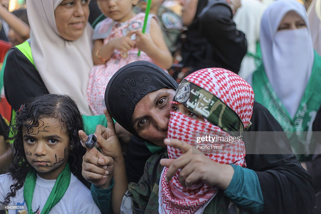 Palestinian children take part in the celebrations organized by the Hamas movement in connection with the permanent agreed cease-fire in the Gaza Strip after months of war.