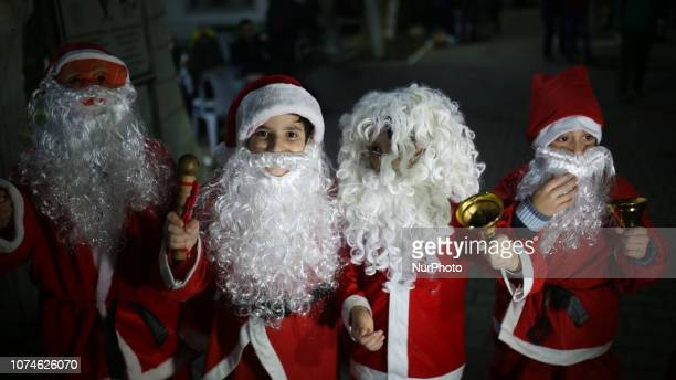 Palestinian Christians attend Christmas Tree lighting ceremony in Gaza city on December 22 2018