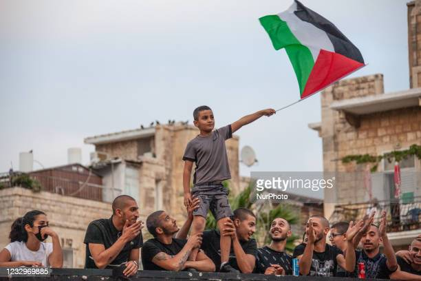 Palestinian citizens of Israel demonstrate in Haifa, Israel on 18 May to mark a nationwide general strike called by the country's Arab leadership and...