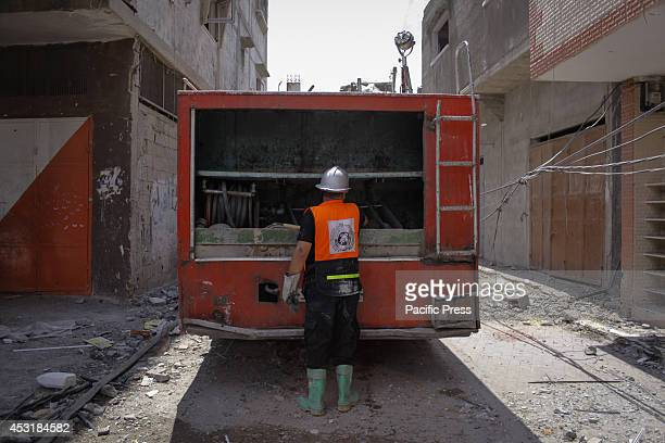 Palestinian civil defence worker in east of Beit Hanoun after being targeted by the Israeli Air Force and Palestinian medical sources said that the...