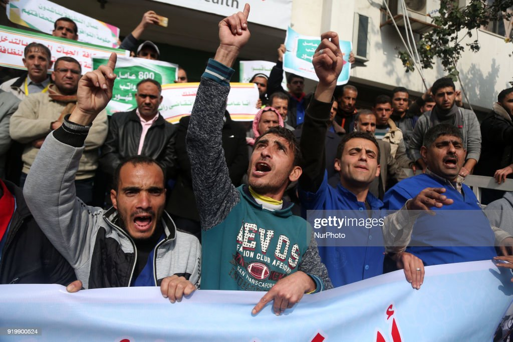 Palestinian cleaners protest to demand their salaries