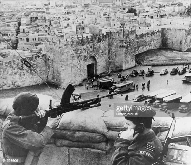 Palestinian conflict nov1947may1948 British military post in Jerusalem April 1948