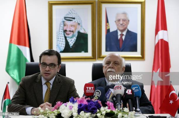 Palestinian Cultural Minister Ehab Bessaiso and Turkish Culture and Tourism Minister Nabi Avci hold a press conference after they signed cultural...