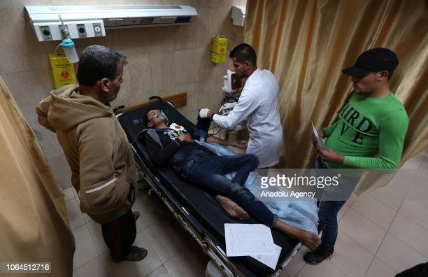 Palestinian demonstrator receives medical treatment at alaqsa hospital after he was wounded by Israeli forces during the 'Great March of Return'...