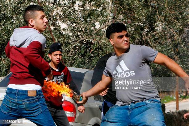 Palestinian demonstrators clash with Israeli security forces following a raid in the Bethlehem area this morning in search of a suspect wanted for a...