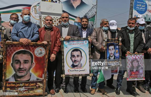 Palestinian demonstrators gather for a rally in support of Palestinians currently in Israeli jails, in Khan Yunis in the southern Gaza Strip on April...