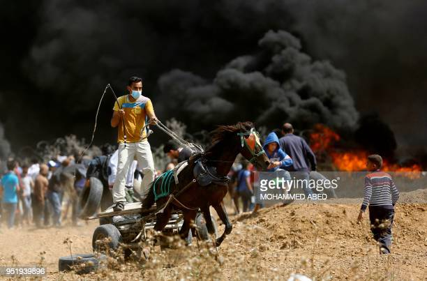 Palestinian drives a horsedrawn cart during clashes with Israeli security forces near the eastern border of the Gaza Strip east of the northern town...