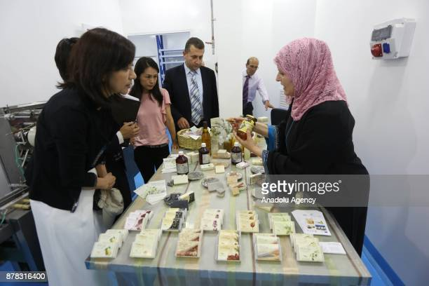 Palestinian entrepreneur Ihlas Savalihe 46yearold introduces her products at her factory 'Palestinian House of Soap SIBA' in Jericho West Bank on...