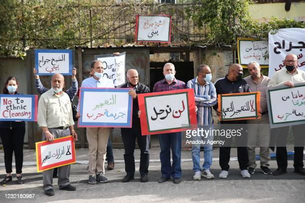Palestinian families, living in the Sheikh Jarrah neighbourhood of Eastern Jerusalem and threatened by Israel's forced migration, gather for a...