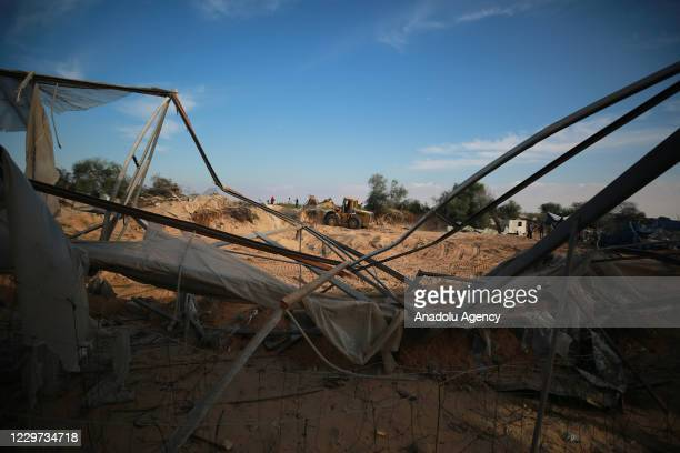 Palestinian farmers' agriculture fields and greenhouses are damaged after an airstrike by Israeli warplanes on November 22 2020 in Khan Yunis Gaza