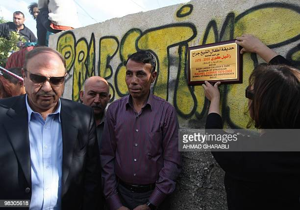 Palestinian Fatah party member Hatem Abdelqader and other local officials attend the opening of a park named after Rachel Corrie a US activist run...