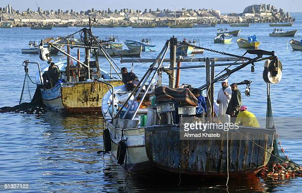 Palestinian fishermen tend to their boat September 18 2004 having landed their overnight catch and sold it at auction in Gaza City The fishing...