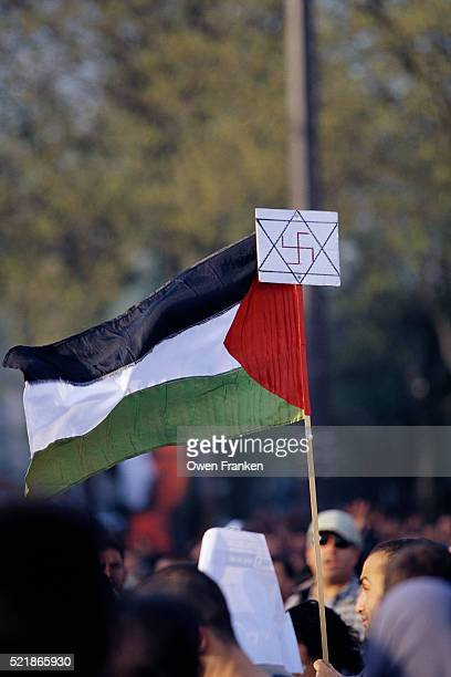 palestinian flag with star of david and swastika - nazi swastika stock pictures, royalty-free photos & images