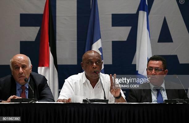 Palestinian Football Association president Jibril Rajoub Chairman of the FIFA Monitoring Committee IsraelPalestine Tokyo Sexwale and Israel's...