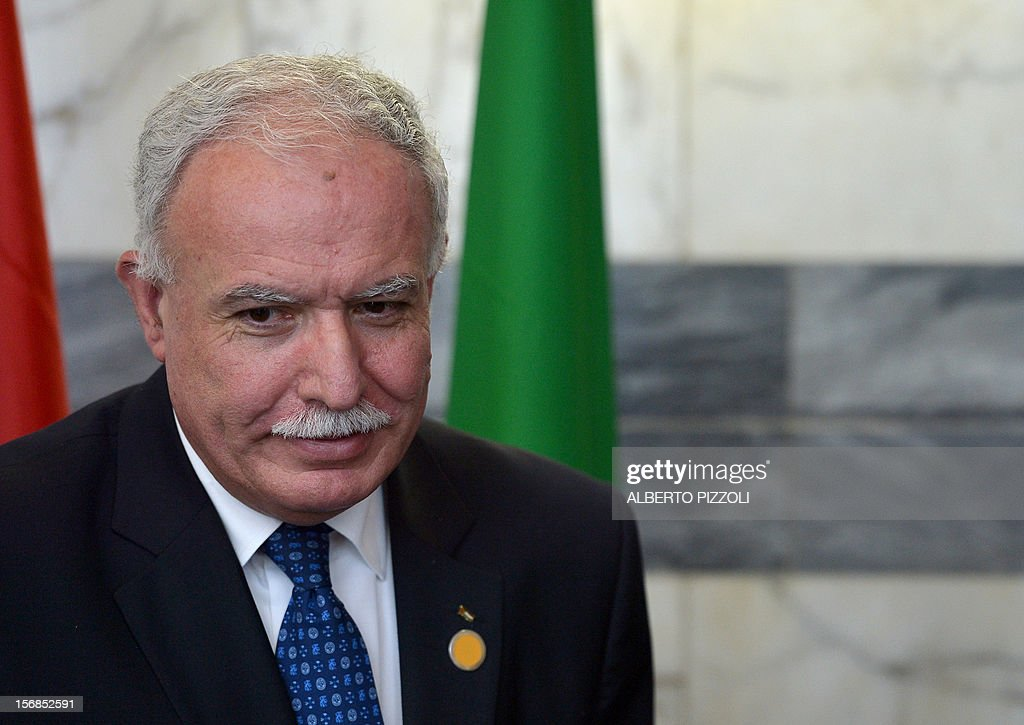 Palestinian foreign minister Riad al-Malki arrives for a joint ministerial committee meeting between Italy and the Palestinian National Authority at the Farnesina palace on November 23, 2012 in Rome.