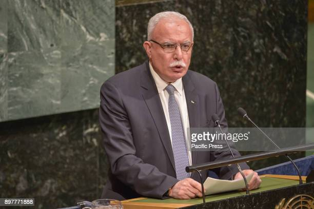Palestinian Foreign Minister Riyad AlMaliki is seen before a vote by the United Nations General Assembly at UN Headquarters The emergency meeting was...