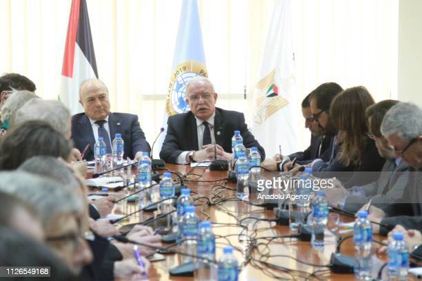 Palestinian Foreign Minister Riyad alMaliki meets with European Union diplomats in West Bank at Foreign Ministry in Ramallah West Bank on February 21...