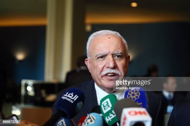 Palestinian Foreign Minister Riyad AlMaliki speaks to media after the voting at emergency special session over Jerusalem held by UN General Assembly...