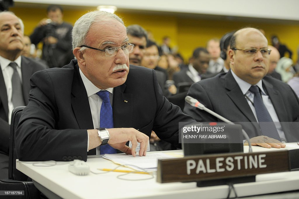 Palestinian Foreign Minister Riyad al-Malki addresses the Committee on the Exercise of the Inalienable Rights of the Palestinian People, November 29, 2012 at UN headquarters in New York. AFP PHOTO/Henny Ray Abrams