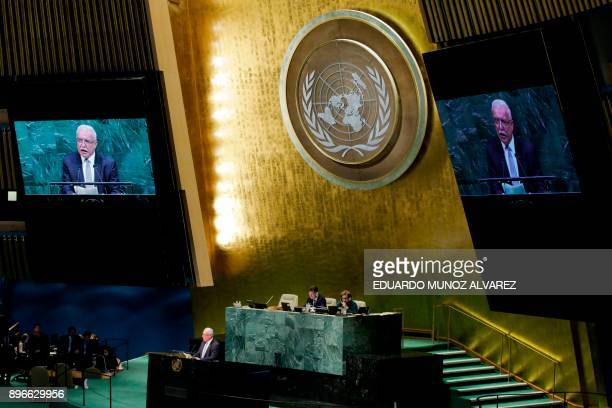 Palestinian Foreign Minister Riyad alMalki addresses the General Assembly prior to the vote on Jerusalem on December 21 at UN Headquarters in New...