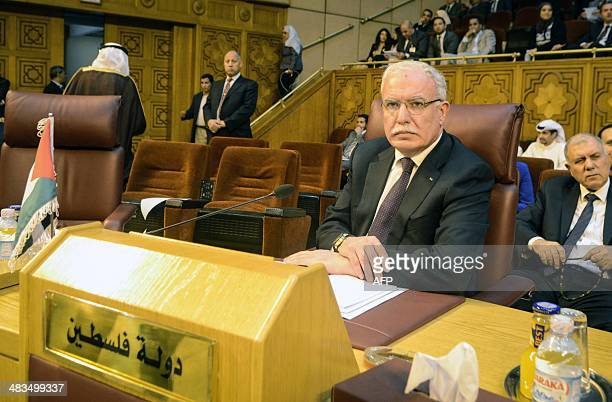 Palestinian foreign minister Riyad alMalki attends the Arab foreign ministers' meeting at the Arab League headquarters in Cairo on April 9 2014 Arab...