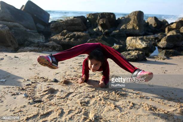 A Palestinian girl Areej Ayoub 10 years hopes to break the Guinness world records with his bizarre feats of contortion demonstrates acrobatics skills...