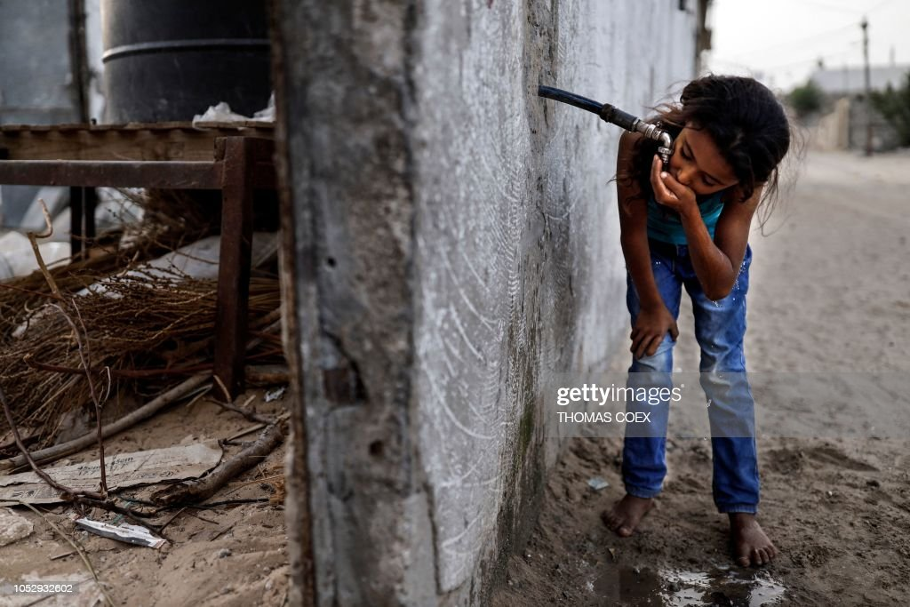 PALESTINIAN-ISRAEL-CONFLICT-GAZA-WATER : News Photo
