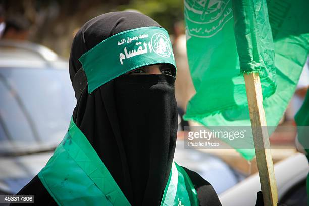 Palestinian girl participates at a Hamas rally in Gaza City, Gaza Strip. The rally was attended by thousand of supporters as allegedly, Israel and...