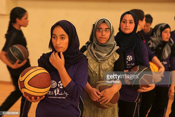 Palestinian girls basketball training exercise in Gaza City as part of an initiative to empower young girls in Gaza City on September 7 aged between...