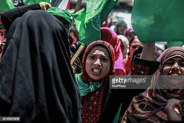 Palestinian girls during a demonstration in support of the prisoners in Israeli jails in Gaza City on June 11 2014 Palestinians imprisoned without...