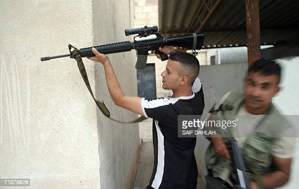 Palestinian gunmen clash with Israeli soldiers during an incursion into the West Bank village of Qabatiya, near the Balata refugee camp in Nablus, 30...
