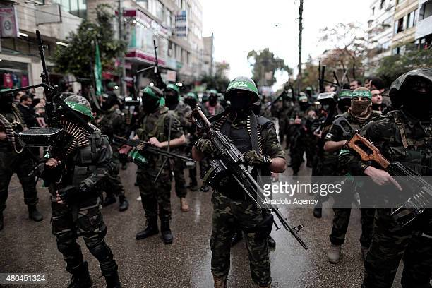 Palestinian Hamas movement organized on Sunday an elaborate military parade in Gaza City to commemorate the passage of 27 years since its foundation...