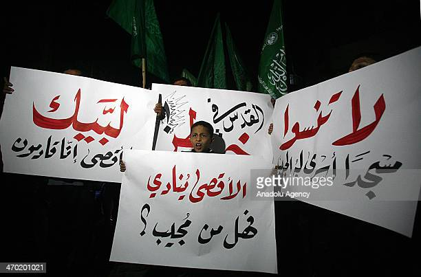 Palestinian Hamas movement supporters take part in a demonstration against the Israeli Judaization schemes in alAqsa Mosque and occupied Jerusalem in...
