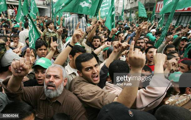 Palestinian Hamas supporters and members attend a rally supporting AlAqsa mosque alHaram alSharif April 8 2005 in Gaza City the in Gaza strip Tens of...