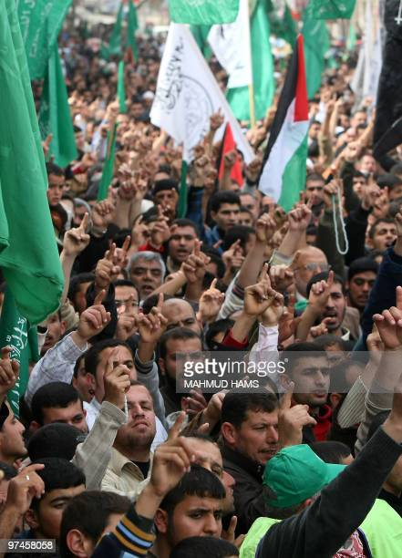 Palestinian Hamas supporters take part in a rally in the northern Gaza Strip refugee camp of Jabalia on March 5, 2010 to protest against an Israeli...