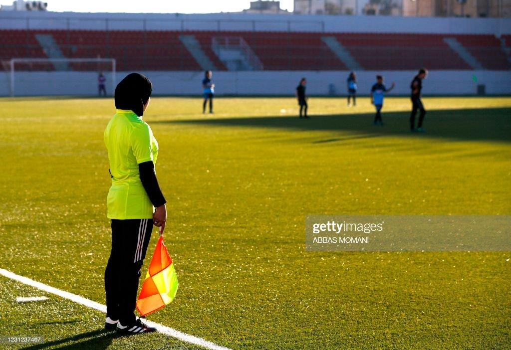 PALESTINIAN-SPORTS-FOOTBALL-SOCIETY-WOMEN : News Photo