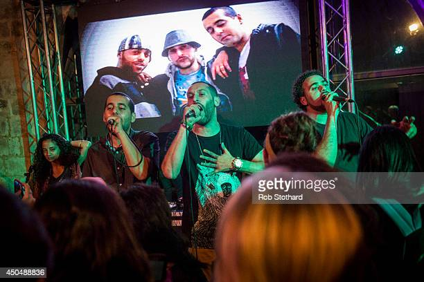 Palestinian hiphop group DAM perform at a 2014 Palestine Festival of Literature event at Qasr al Qassem on June 4 2014 in Beit Wazan near Nablus West...