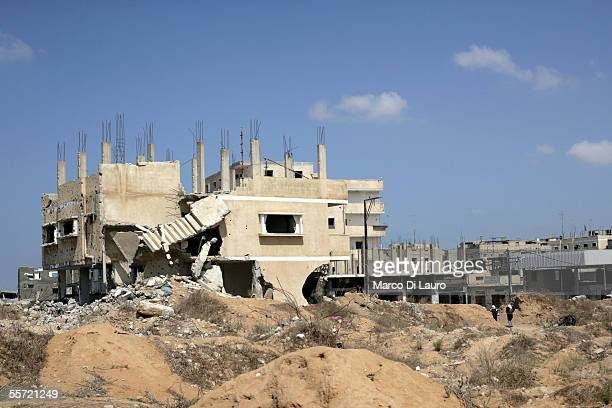 Palestinian houses allegedly destroyed by the Israeli army lie September 19 2005 in Rafah refugee camp Gaza Strip Several Palestinians families who...