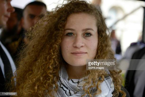 Palestinian human rights activist Ahed Tamimi seen taking part during the protest Palestinian human rights activist Ahed Tamimi joined the National...