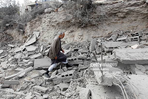 Palestinian inspects the wreckage after Israeli forces demolish house of Abdulmecid Amayira who allegedly attempted an armed attack to Israelis last...