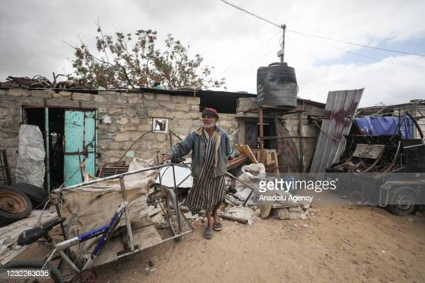 Palestinian is seen at a refugee camp in Gaza City, Gaza on April 09, 2021. Palestinian refugees living in camps, large and small in different parts...