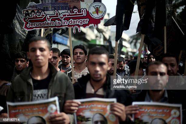 Palestinian Islamic Jihad supporters march during the demonstration against Israeli Government after Friday Prayer in Gaza City, Gaza on October 31,...