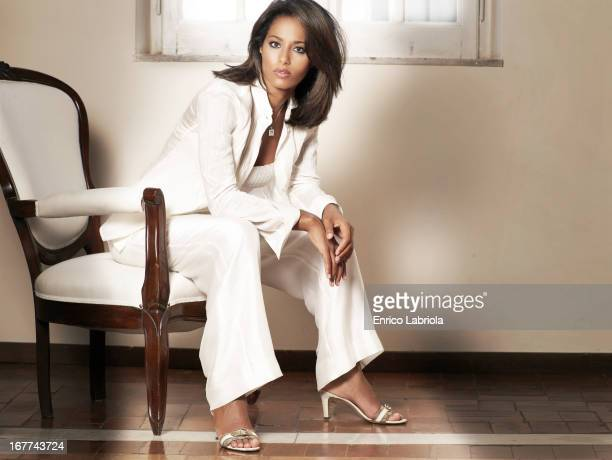 Palestinian journalist and author Rula Jebreal is photographed for Grazia Italy on May 15 2006 in Milan Italy