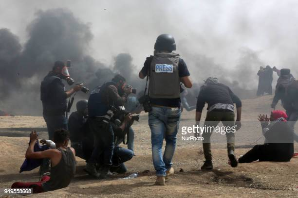 Palestinian journalists cover the Palestinian demonstrations on the border with Israel it is worth mentioning that Israel killed photojournalist...