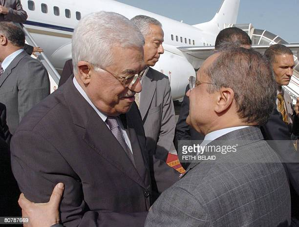 Palestinian leader Mahmud Abbas is welcomed by Tunisian Foreign minister Abdelwahab Abdallah upon his arrival at TunisCarthage international airport...