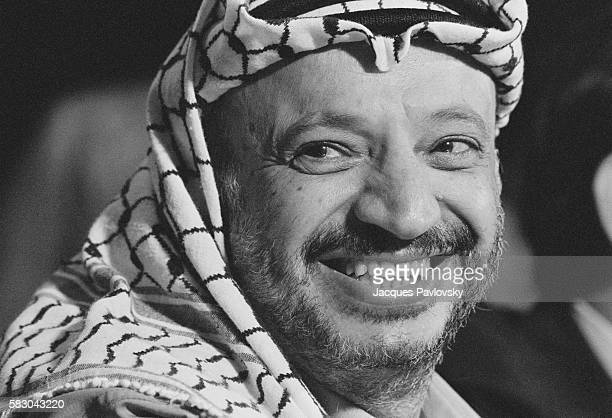 Palestinian leader Yasser Arafat attends a press conference during the 9th Arab Summit held in Baghdad