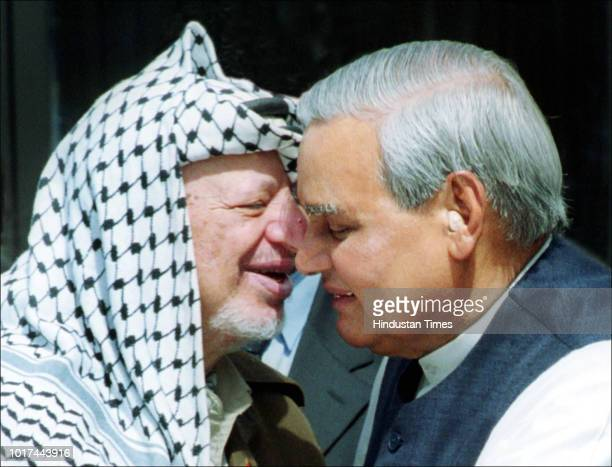 Palestinian leader Yasser Arafat greets Indian Prime Minister Atal Bihari Vajpayee on August 23 2001 in New Delhi India Arafat was on a quick tour of...
