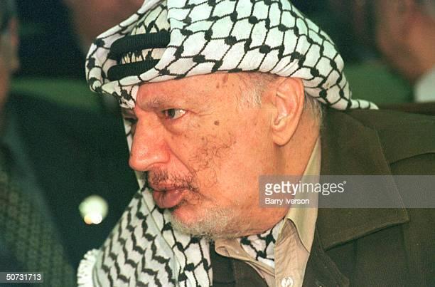 Palestinian leader Yasser Arafat in serious portrait during Arab League summit held October 21-22.