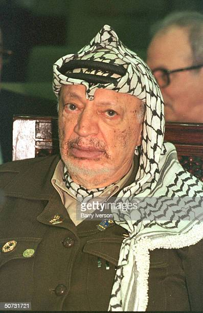 Palestinian leader Yasser Arafat in serious portrait during Arab League summit held October 2122